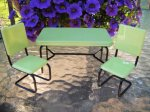 1950's Retro Green Table & Chairs Set (green & black)