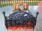 Bed - Spider Web Bed For Halloween - Black Metal Bed