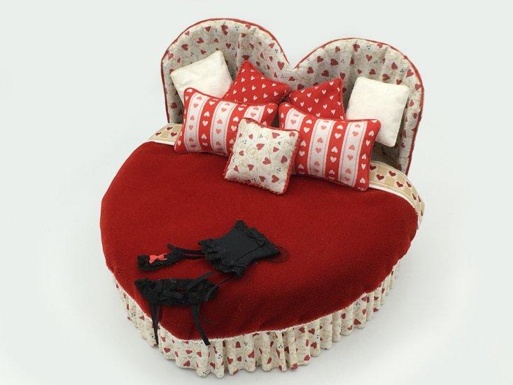 Heart Shaped Bed W Black Lingerie Valentine S Day 165 00 Karen S Dollhouse Shop Unique Handcrafted Dollhouse Miniatures