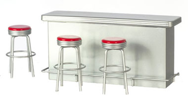 1950s Counter with 3 Stools, Red - 39.99