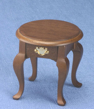 Round End Table, Walnut