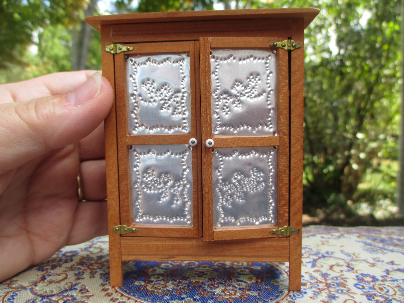 1971 Early Miniature Wooden Pie Safe Signed w/ Two XX