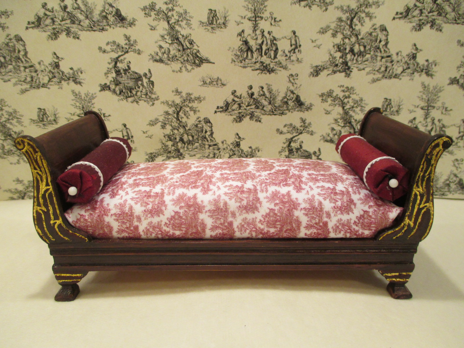 Bedroom Day Bed With Red Toile Fabric W 2 Bolster Pillows