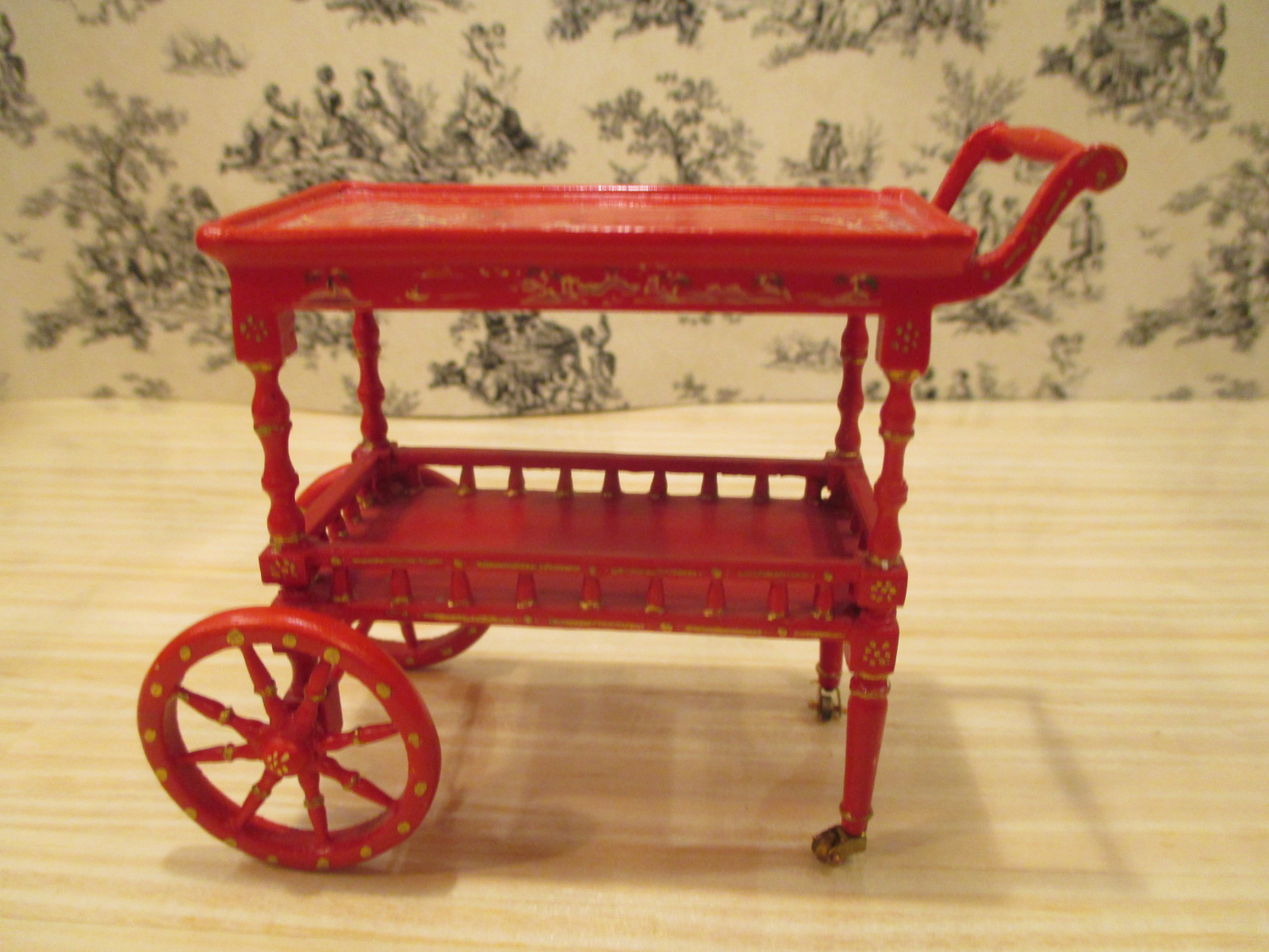 Bespaq Asian / Chinese Painted RED Tea Cart