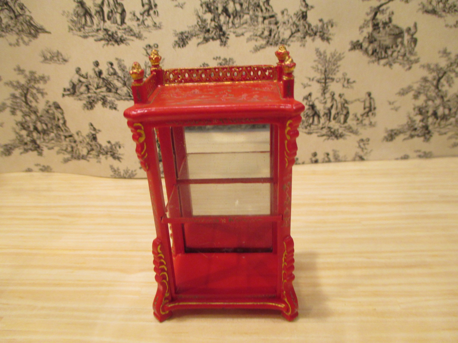 Bespaq Asian / Chinese Painted RED Mirrored Display Case