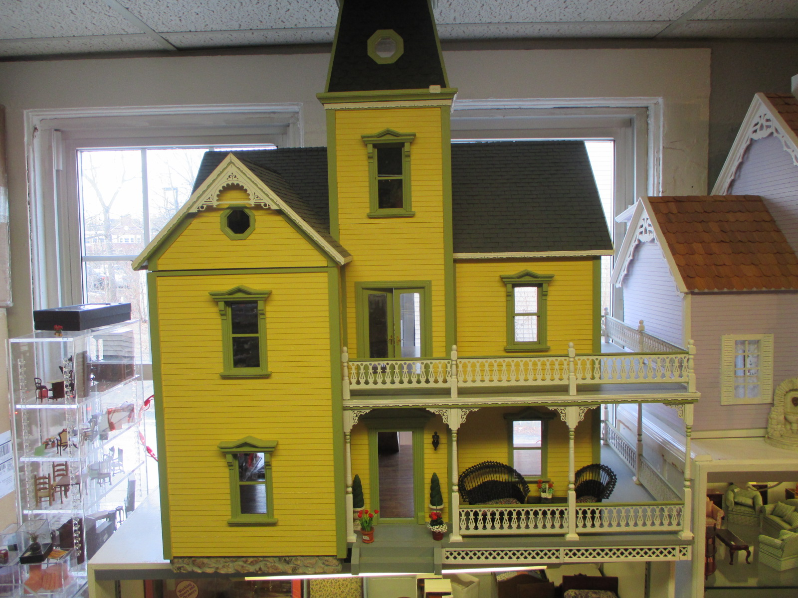 Dollhouse ~ Yellow Victorian with Side Porch