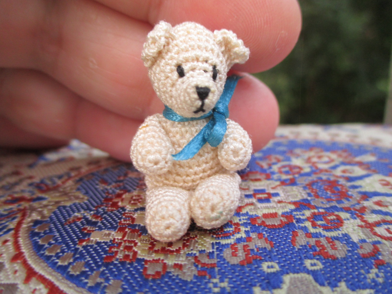 Hand Crocheted White Teddy Bear w/ Blue Bow