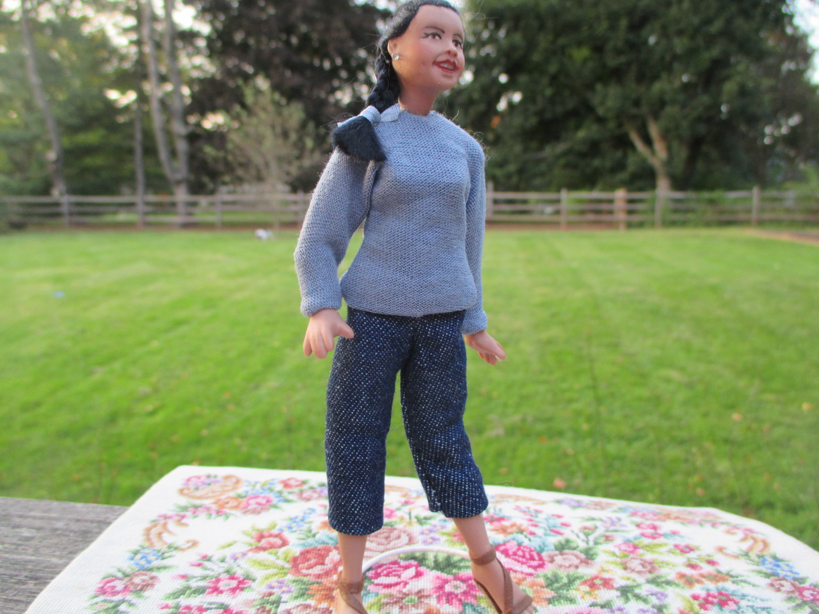Modern Porcelain Woman Doll in Jeans ~ African American