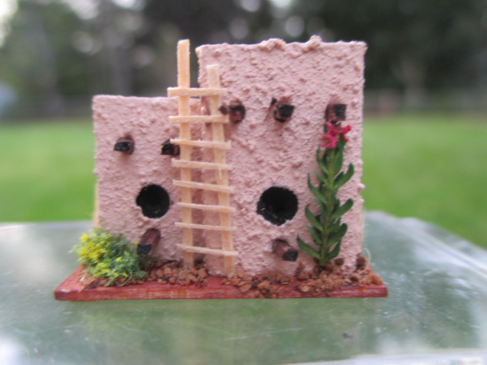 "Adobe w/ Greens Birdhouse ~ Could be 1/4"" ~ South Western"