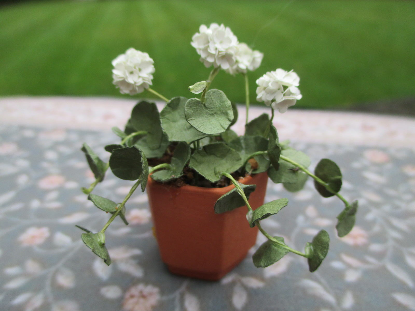 Handmade White Geranium Flowers in Terracotta Pot