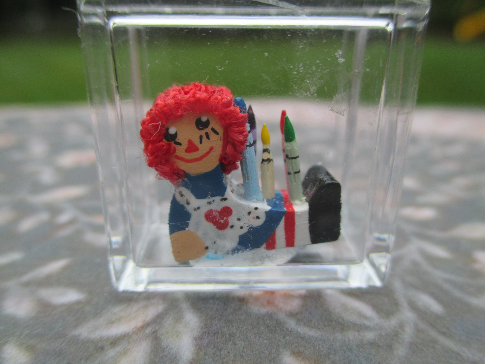 Handmade Raggedy Ann Wooden Colorful Crayon Holder & Crayons