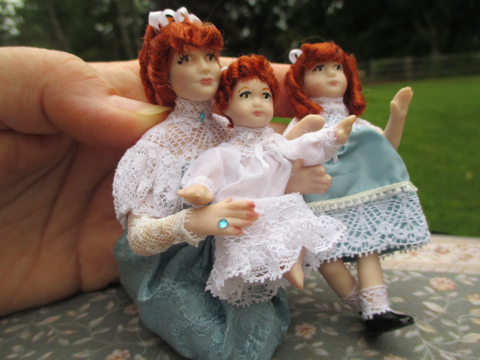 3 Pc. Victorian Doll Family: Mom, Daughter & Baby, Red Hair
