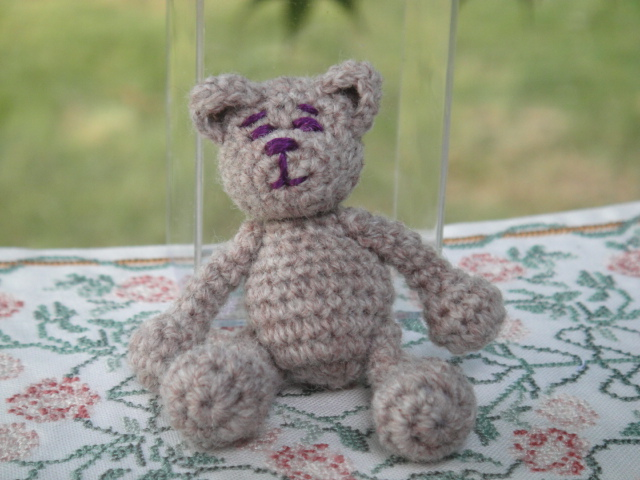 Hand Crochet Bear w/ Purple Face