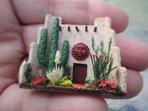 "1/4"" Tiny Adobe Porch Display w/Cactus ~ Native American"