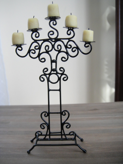 Black Metal Candelabra with Five Candles