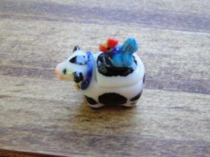 Ceramic Cow w/ Rooster - Butter or Milk Dish