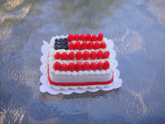Flag Sheet Cake w/ Fresh Fruit