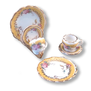 French Rose Plate Set w/ Holder