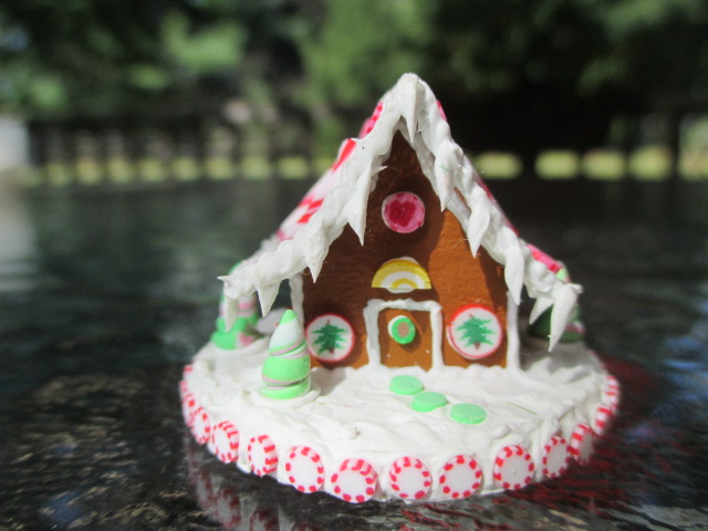 Gingerbread House Decorated on Lg. Round Board