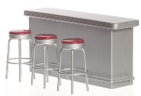 Metal Counter with 3 Red Bar Stools