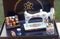 Porcelain Sewing Machine Set