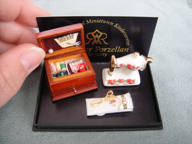 Porcelain Sewing Machine & Box