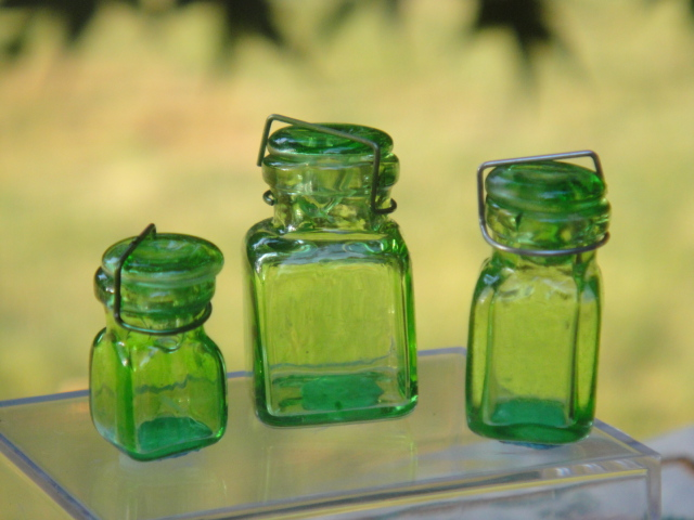 Set of Three Green Square Canning Jars